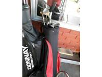 Kid's left hand golf clubs and caddy