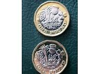 2 x Rare 12 sided £1 coin