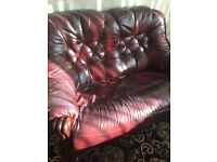 Brown Leather Sofa settee (set of 3)