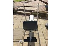 Weights bench and barbells set including 10kg, 5kg and 2kg and 2 bars