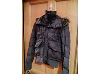 Grey winter waterproof jacket with removable hood womens S