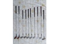 Set of Vintage Golf Clubs. 7x Leyland Lady Irons, 2x Wilson Drivers.