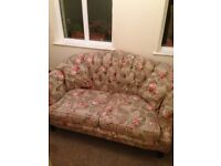 Beautiful vintage Red floral 3 piece suite, Sofa and 2 Armchairs excellent condition £150 ono