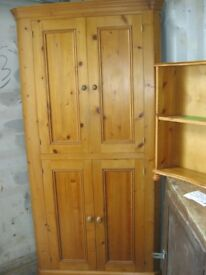 QUALITY LARGE SOLID PINE CORNER CUPBOARD / CABINET. VERSATILE LOCATION USAGE. VIEWING / DELIVERY