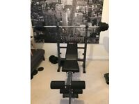 Gym Bench plus bar and weights