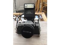 OLYMPUS 35mm camera & PRINZ Galaxy 135mm telephoto lens
