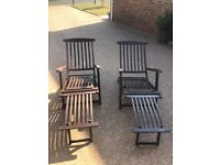 Pair of wooden steamer recliner chairs