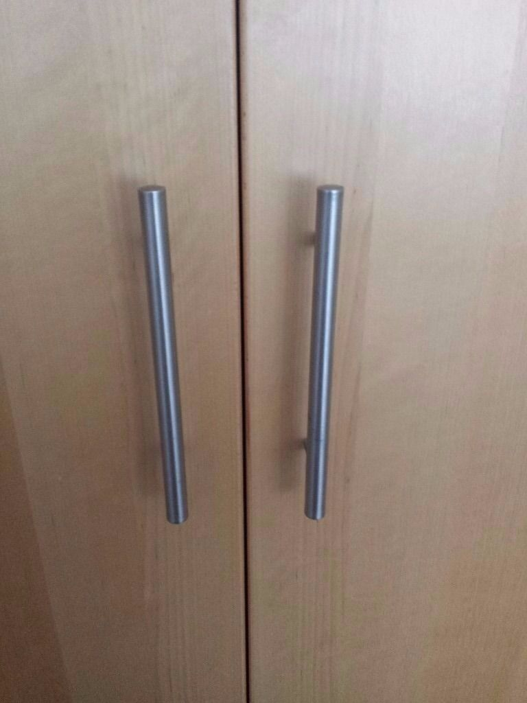 Tall ikea pax wardrobe light wood colour in for Ikea wood type