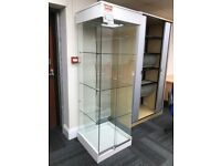 Glass Display Unit, With 3 Glass Shelves. 1860mm Height x 600mm Width. 1 In Stock