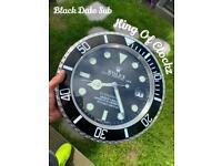 Rolex wall clock - black submariner - longterm trusted seller