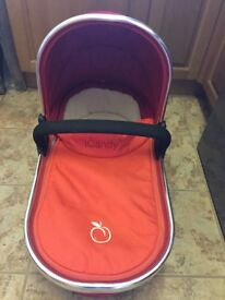 iCandy Peach Blossom Carry Cot. Excellent condition. Some scratches on silver metal section.