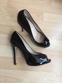 Ladies Black Patent Leather Peeptoe Shoes By Office UK Size 6 - Euro 39