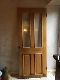 Interior Oak Door with 2 clear panels