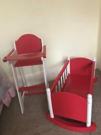 Wooden dolls bed and high chair