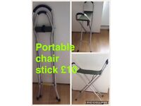 Foldable walking stick seat
