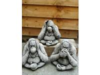 Set of 3 orangutans stone ornament garden