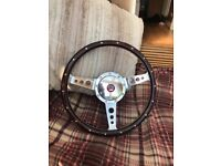 """Classic mini wooden steering wheel 13"""" with boss"""