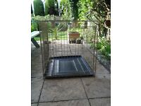 Rosewood dog crate, vgc., 79x65x70cms, with inside tray, £30
