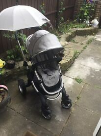Icandy Peach silver mint pushchair with matching parasol.