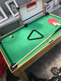 Kids games table table football and pool table in one