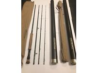 Fly rods, reels, line, flies, net, line tray and bag