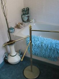 For sale - Free standing Bathroom towel rail gold coloured & brass.