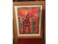 Colourful framed Giraffe picture ideal for playroom