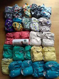 Bundle of 25 reusable cloth nappies