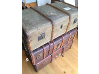 Vintage Steamer Antique Trunk Case Suitcase Banded