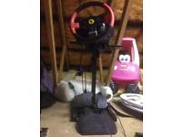 Thrust master T150 Ferrari steering wheel, pedals and stand