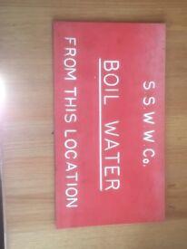 Vintage water board sign