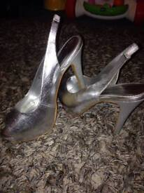 Silver peep toe sandals