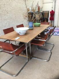 Antique Oak Twin Pedestal Dining Table