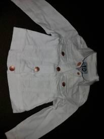 Lovely girls white denim jacket 1 1/2-2 years