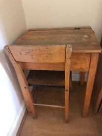 Children's school desk wooden old & chair
