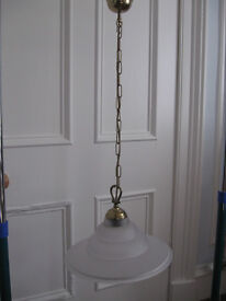 Brass and Frosted Glass Ceiling Pendant Light