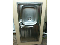 Stainless steel sink unit, shallow bowl with Bristan mixer tap
