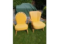2 Ercol Windsor Easy chairs with original upholstery.