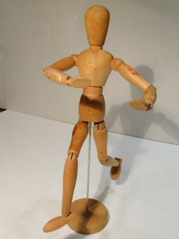 "Vintage Articulating Wood Artist Model Figure Mannequin with movable Joints 12"""