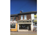 Retail Shop high street Forest Town Rent or sell with upstairs flat, producing £3500 py