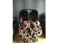 BABY JOGGER CITY MINI TWIN PRAM AND TWO BUGGY SNUGGLES