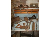 VINTAGE TOOLS & BOX WITH STANLY PLAIN / PUMP DREVER + MORE