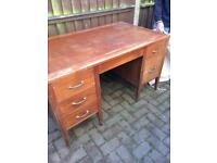 Solid wood desk needs repolishing but good and sturdy