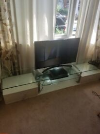 FREE very long white & glass TV stand