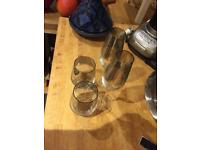set of 2 stylish water glasses and champagne flutes