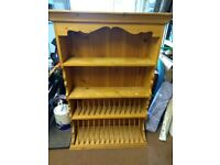Large pine wall unit/plate rack