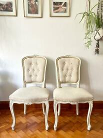Pair of French Louis style upholstered dining room/bedroom chair - shabby chic finish