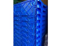 10 x Blue heavy duty plastic storage/removal crates