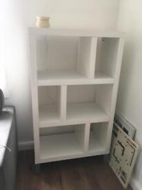 White gloss shelving unit / shelves / living room bedroom / modern