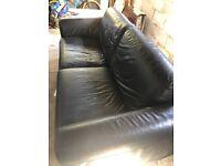 Habitat black faux leather sofa